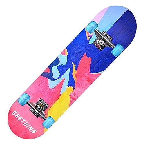 ZHBH Complete Pro 79 cm standard lönn skateboard, LED-lätta hjul för pojkar flickor nybörjarborste gatudans bräda graffiti cruiser lastlager 150 kg (blixthjul)