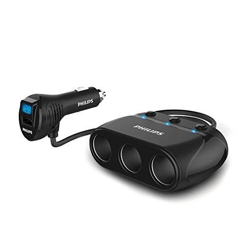 PHILIPS 3連 シガーソケット 車載充電器 分配器 USBポート搭載 カーチャージャー 増設 独立スイッチ 12V/24...