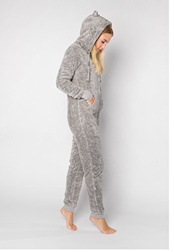 Eight2Nine Damen Jumpsuit aus kuscheligem Teddy Fleece | Overall | Ganzkörperanzug mit Ohren Light-grey1 L/XL - 3