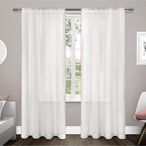 Exklusive Home Vorhang mit Pompon-Rand, strukturierter Vorhang, eingefasst, zum Aufhängen mit Stange, Fenstervorhang, Paar, Polyester, Bubble Gum, 96