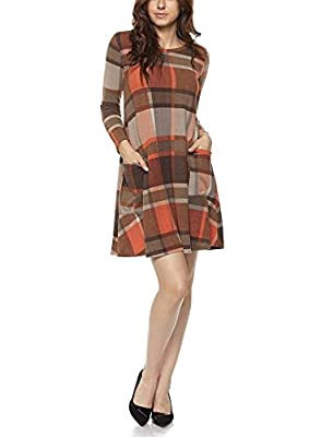 Tendzi Trends Plus Size Plaid Knit Tunic Dress with Pockets Made In USA
