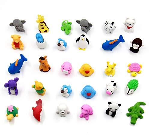 Radiergummi Set 30 PCS Zufälliges Tier Tiere Eraser Spielzeug Radiergummi Figuren Tiere Bauernhoftiere Set Bleistift Radiergummi für Kinder