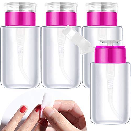 Demason 4 Stück 150ML Pumpe Leere Flasche Dispenser Drücken Pumpflasche Plastikflasche für Nagellackentferner Flüssiger Flaschen Behälter Reiseflasche, Rosa