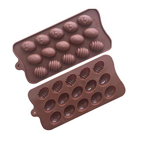 DanziX - Molde de silicona para huevos de Pascua (15 cavidades, 3 unidades, para gelatina de chocolate, chocolate)
