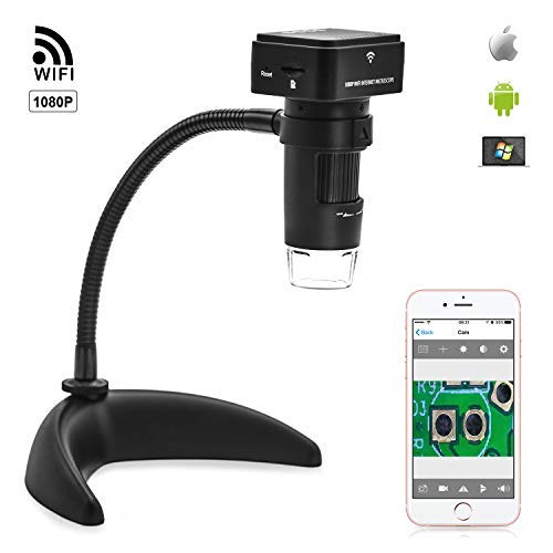 1080P HD WiFi Microscope Wireless Digital Magnifier with 2MP HD Resolution, 200X Optical Magnification Compatible with iPhone, iPad, Android Smartphone, Tablet, Windows Laptop, Mac