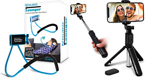 Aduro Phone Neck Holder, Gooseneck Lazy Neck Phone Mount, (Blue) Bundle with U-Stream Selfie Stick Tripod Extendable with Bluetooth Remote, All for iPhone/Android Smartphone