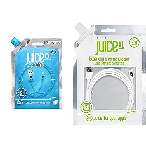 Juice Apple iPhone Lightning 3m Charger and Sync Cable - Aqua & Apple iPhone 11, Pro, iPhone X, Xr, iPhone 8, 7, 6, SE, iPad Lightning Charge and Sync Cable, 2M, White,Round,JUI-CABLE-LIGHT-2M-RND-WHT