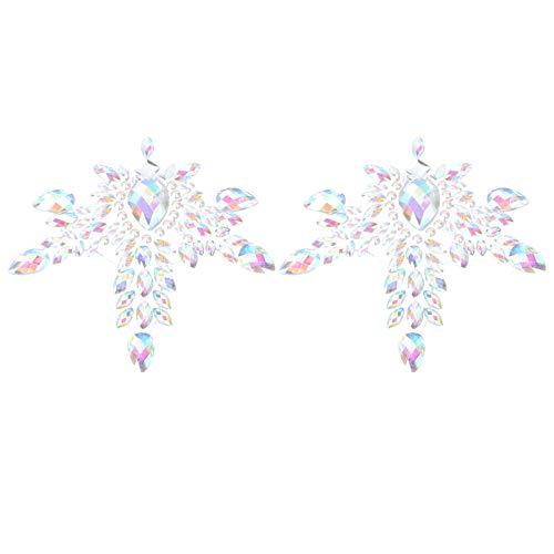 Generic Brust Juwelen Tattoo Strass Brust Aufkleber Körper Edelsteine Glitter Selbst- Adhesive für Frauen Musik Rave Party Halloween Karneval