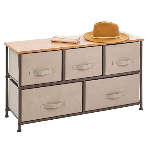 mDesign Wide Dresser Storage Tower - Sturdy Steel Frame Wood Top Easy Pull Fabric Bins - Organizer Unit for Bedroom Hallway Entryway Closets - 5 Drawers - CoffeeEspresso