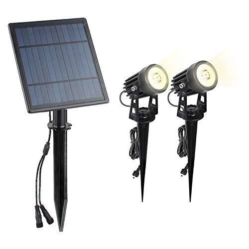 2 Solar Spotlights LED, Ip65 Waterproof Solar Outdoor Garden Lights, Ground Lighting with Light Sensors, Two-Level Brightness, Solar Lamp for Terrace Patio Lawn Garden Front Door Yard Garage
