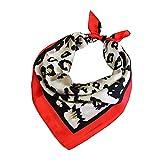 Las mujeres pañuelos de gasa estampado de animales del leopardo del cuello del abrigo bufanda escarpada multifunción bufanda de la seda pequeña plaza Wraps Chales satén (Red Leopard Edge)