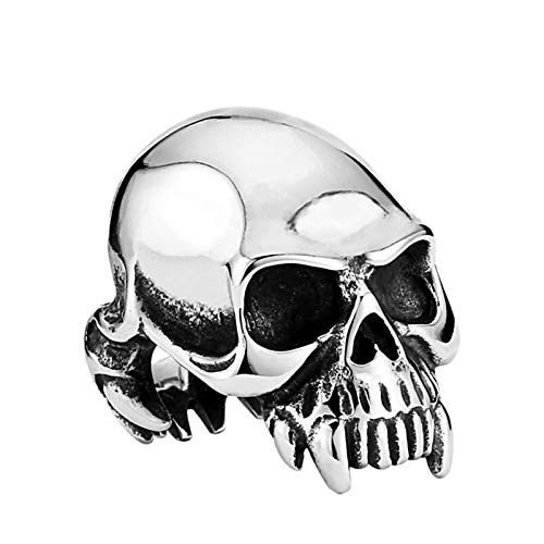 Amody Joyería Hombres anillosAnillo gótico Esqueleto de Diente dominante Plata Anillo de Acero Inoxidable para Hombre Tamaño 25