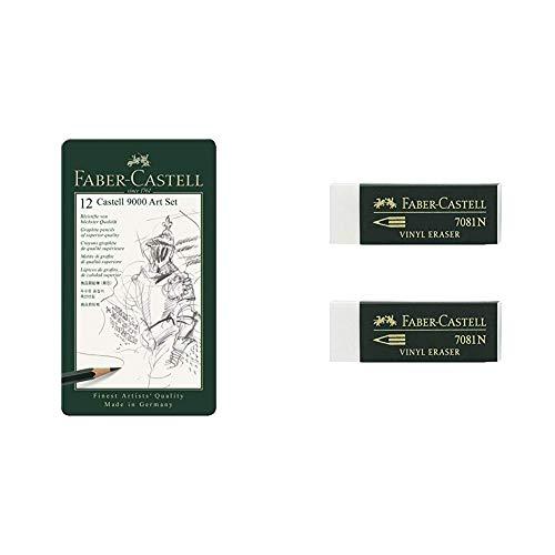 Faber Castell 9000 Set de 12 lápices para dibujo artístico + Blister 2 gomas de borrar Goldfaber blanco