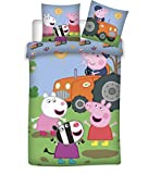 BrandMac Peppa & George Pig - Juego de funda de edredón y funda de almohada para niños, diseño de tractor