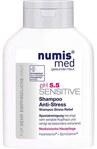 numis med Shampoo Anti-Stress ph 5.5 SENSITIVE - Haarpflege vegan & seifenfrei - Haarshampoo für sensible, feuchtigkeitsarme & zu Allergien neigende Haut (1x 200 ml)