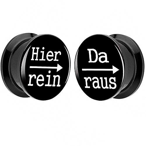Piersando 1 Paar 2er Set Ohr Plug Piercing Kunststoff Flesh Tunnel Ohrplug mit Hier rein Da Raus Spruch Schwarz Motiv Comic Picture Schwarz 12mm