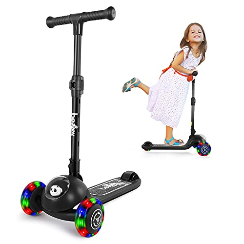 BELEEV Patinete infantil de 3 ruedas para niñas y niños, plegable, con ruedas de luz LED, para niños pequeños a partir de 3 – 8 años (negro)