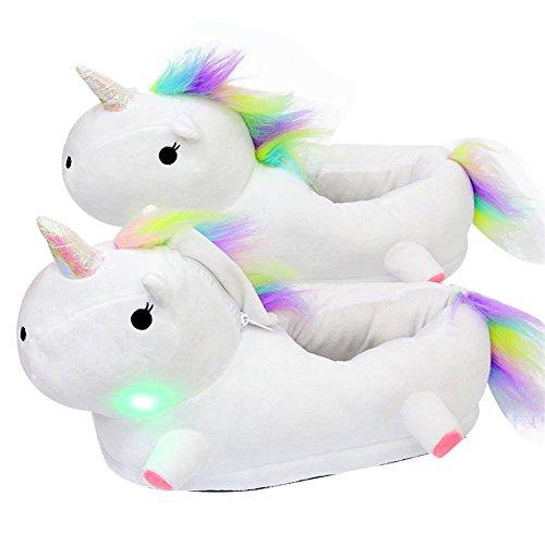 AILU Einhorn Hausschuhe Leuchtend Damen Einhorn Pantoffeln LED Plüsch Tier Hausschuhe Kinder Größe: 35-43