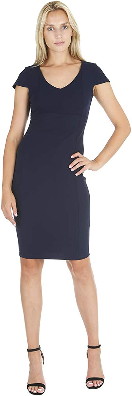 Bebe Womens VNeck Cap Sleeve Fit Midi Dress