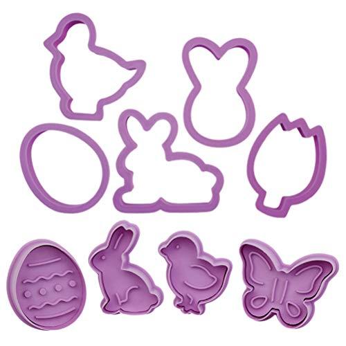 YEKKU 9 Pezzi/Set formine per Biscotti pasquali, Stampo per Biscotti in plastica Animale Coniglietto, Testa di Coniglio, Uovo di Pasqua, Carote, Pulcini e Strumenti per Decorare Torte a Farfalla