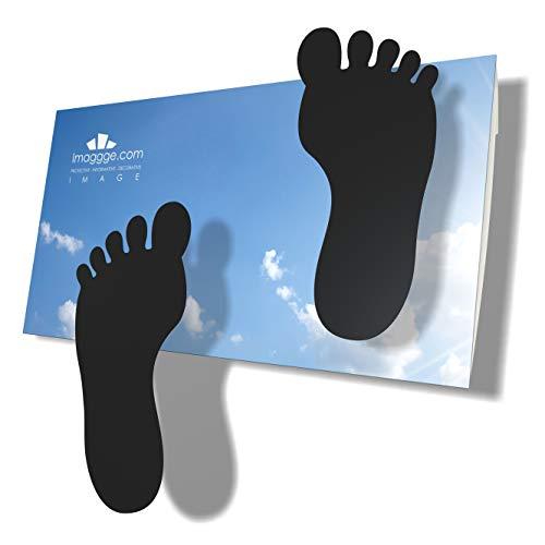 imaggge.com Pegatinas de huellas infantiles para suelos lisos, azulejos, hormigón, vinilo, juego de 24 patas adhesivas negras