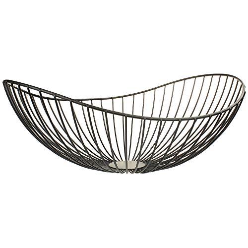 MACOSA CP44893 Dekoschale Dekokorb Metall schwarz Moderne Design-Schale Metall -Korb Aufbewahrungskorb Küchenkorb Drahtkorb Gemüsekorb Obstkorb Obst-Schale