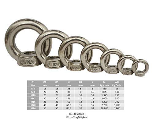 Ringmutter DIN582 Edelstahl M6 M8 M10 M12 M16 M20 M24 gegossen A2 Mutter Ring (M12)