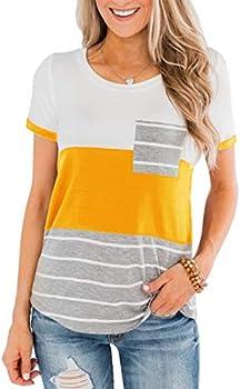 Women's Round Neck Color Block Stripe T-Shirt (various sizes/colors)