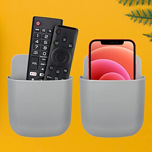 2 Pack 2021 Upgrades Remote Control Holder Wall Mount/Ceiling Fan Remote Wall Holder/Pen Holder, Cell Phone Holder with Adhesive, Bedside Shelf, Grey