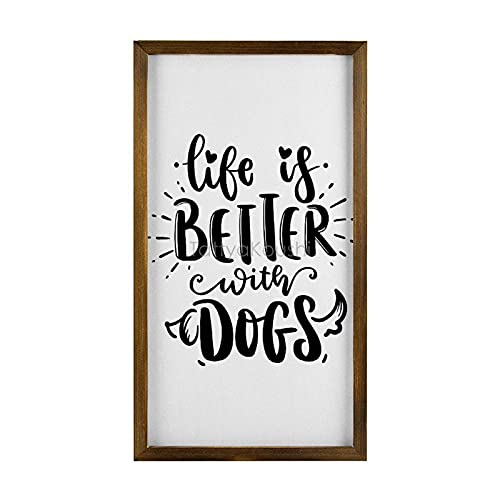 Rustic Wooden Wall Decor Sign Farmhouse Decor with Quote Life is Better with Dogs, Wall Art Decor Wood Framed Wall Hanging Quote Sign, 16' x 20'