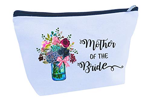 Gifts for Mother of the Bride Groom Bridesmaids Maid of Honor Proposal Large Makeup Cosmetic Canvas Bag Pouch (Mother of the Bride)