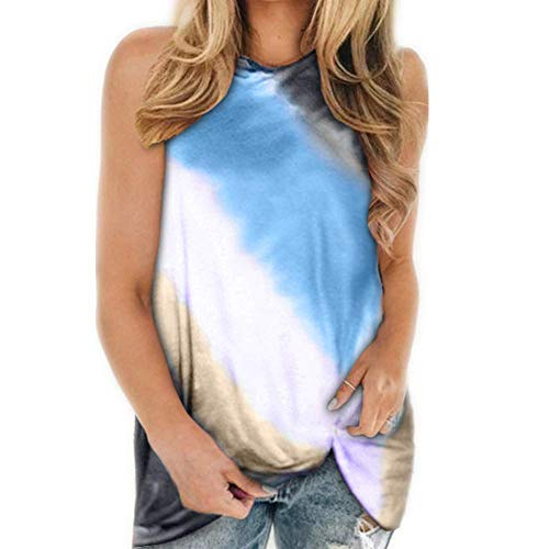 Chaleco Casual Suelto de Verano para Mujer, Camiseta Estampada con Cuello Redondo retorcido
