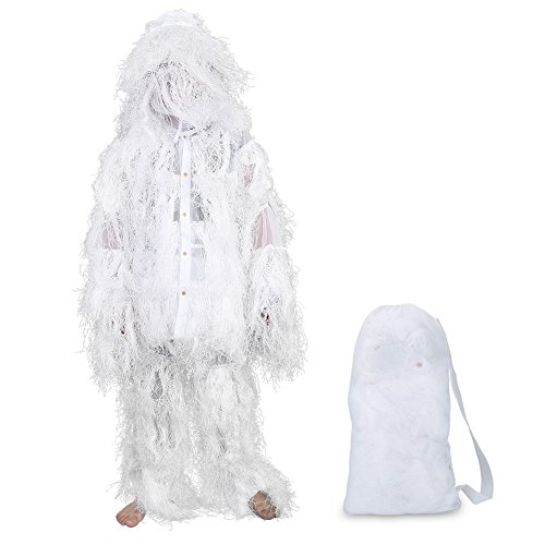 Snowfiled Hunting Clothing, Adult Camouflage Training Ghillie Suit for Snowfiled Birdwatching Hunting