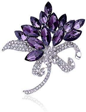 Reizteko Bridal Wedding Jewelry Orchid Flower Petal Brooch Crystal Rhinestone Pins Gift (Purple)