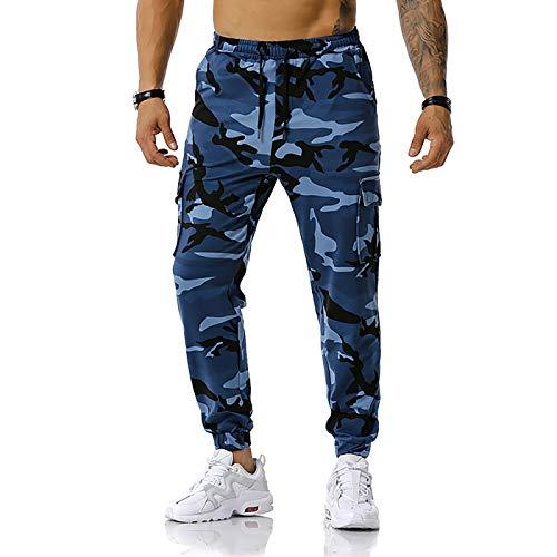 GRAJTCIN Men's Casual Camouflage Jogger Elastic Waist Sweatpants (Navy Blue, Large)