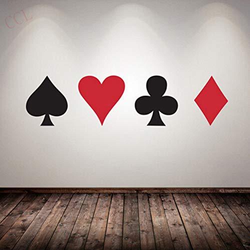 ZXFMT Muursticker Poker Decal Pro Kaarten Spade Club Hart Diamond Muursticker Pak Spelen Game Room Night Kelder Casino Dealer Deal Weddenschap Koning Zwart En Rood Elk Van 25Cmx20Cm