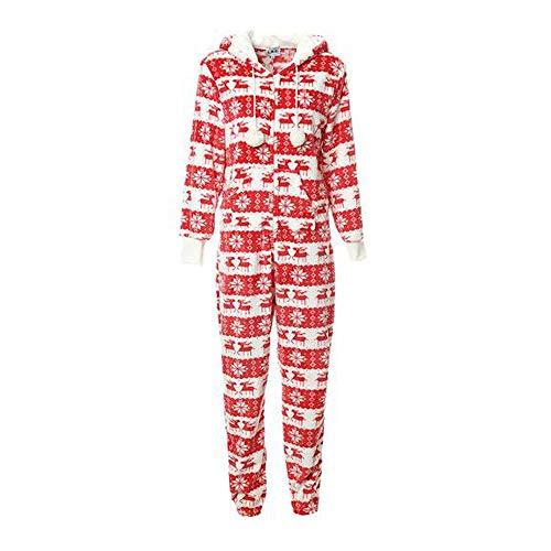MHSHXY Onesie Flanellen Stof pyjama met capuchon Mode Lange mouwen Jumpsuit pyjama Thuis Service Kerstmis Service