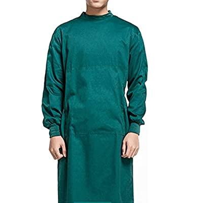 KESYOO Cotton Surgical Gown Washable Medical Gown Doctor Nurse Gown Hospital Workwear Uniform for Doctors Nurse Medical Supplies (Dark Green L)