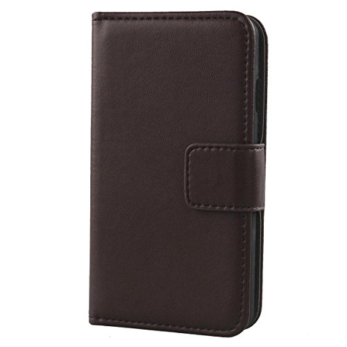 Gukas Design Echt Leder Tasche Für Kazam Trooper 2 4.5 Hülle Handy Flip Brieftasche mit Kartenfächer Schutz Protektiv Genuine Premium Hülle Cover Etui Skin Shell (Dark Braun)
