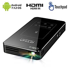 Mini projektor, Android 7.1 Przenośny projektor DLP z touchpadem Car Keystone Correction HDMI Wireless Home Theater Projectors
