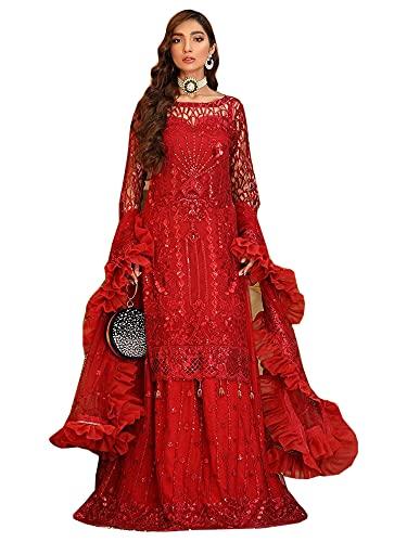 Mujer indio Festival Especial Cosido Falda lehenga Estilo rojo brillante Novia pakistaní red traje 6539, Rojo, M