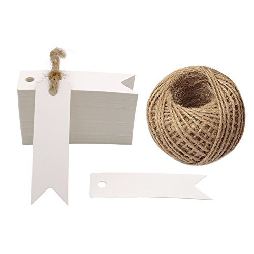 100 PCS Gift Tags Small Size 7 cm * 2 cm Blank Label Paper Wedding Labels Birthday Luggage Tags Brown Hang Tag with 30 Meters Jute Twine (White)