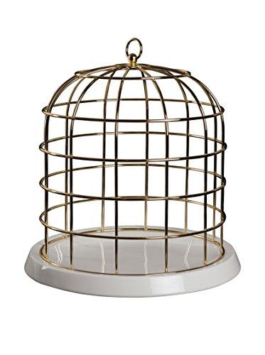 SELETTI Cage en métal doré avec Assiette en Porcelaine Twitable Ø 34 cm H.36 cm