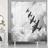 XSHMTSYBathroom Retro Airplane Decoration Shower Curtain Cloud Pilot Jet Airplane Pattern Fabric Shower Curtain Waterproof Shower Curtain Set with Hook 175.26 x 177.8 cm Gray