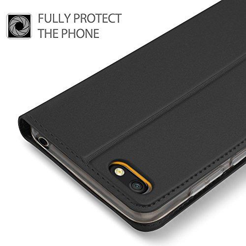 GeeMai für Huawei Y5 2018 Hülle, für Huawei Y5 Prime 2018 Hülle, Premium Hülle Flip Case Tasche Cover Hüllen mit Magnetverschluss Standfunktion Schutzhülle für Huawei Y5 2018 Phone (Schwarz) - 3