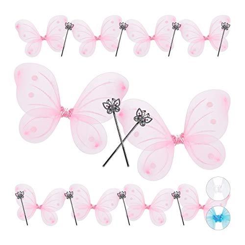 Relaxdays 10 x Feenflügel mit Zauberstab, Fee Kostüm Kinder, Flügel & Zepter, Glitzer, Mädchen, Feenset, pink & Silber
