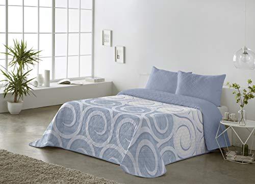 BOHEME Colcha Estampada Reversible Zuri Azul 235x270 - Cama 135 cm