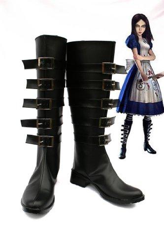 Alice Madness gibt Cosplay Stiefel Schuhe für erwachsene Frauen Halloween Weihnachtsfeier Stiefel 37 zurück