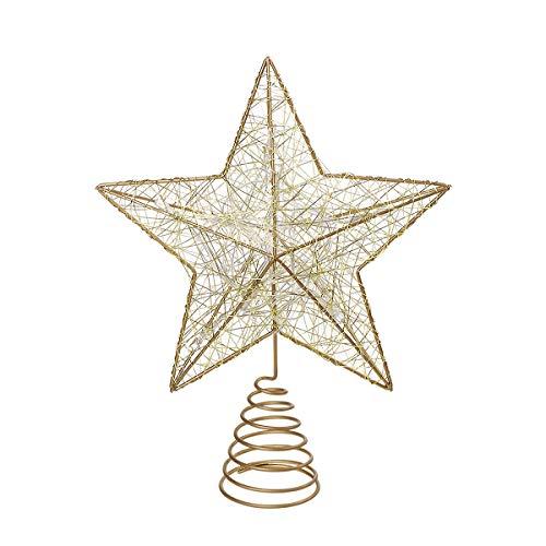 NICEXMAS Estrella para el arbol de Navidad LED Oro Estrella arbol Navidad Adornos Copa del árbol de Navidad decoración para Adornos de árbol de Navidad,operado a batería (Oro)
