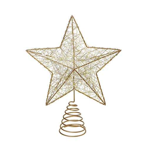 Nicexmas Treetop Star Tree Topper Battery Operated LED Christmas Tree Decoration (Gold)